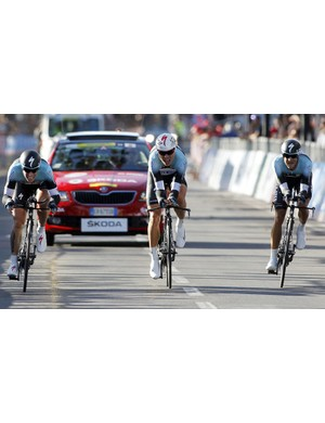 Tony Martin drove his Omega Pharma-QuickStep team home for the win at the 2013 worlds