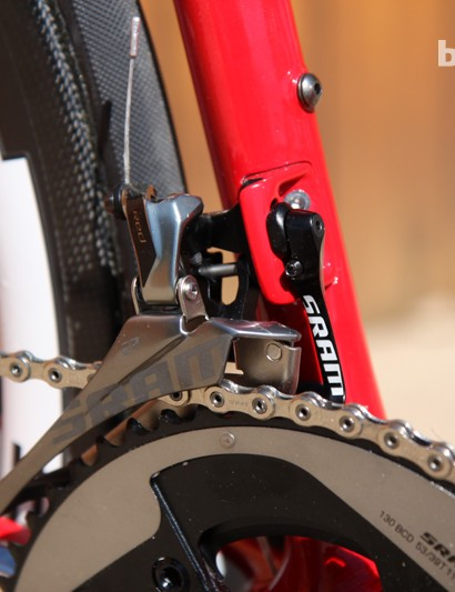 The front derailleur mounts to a molded carbon fiber tab. The integrated chain watcher on SRAM's Red 22 group provides some insurance against dropped chains
