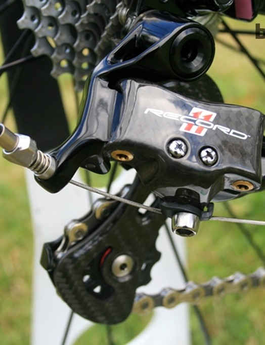 The Campagnolo Record 11 had carbon flourishes in the rear derailleur arm