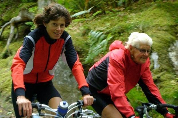"Audrey Fyfe's daughter, Aileen Brown, described her mum as a ""best friend"" – the two are shown here cycling together"