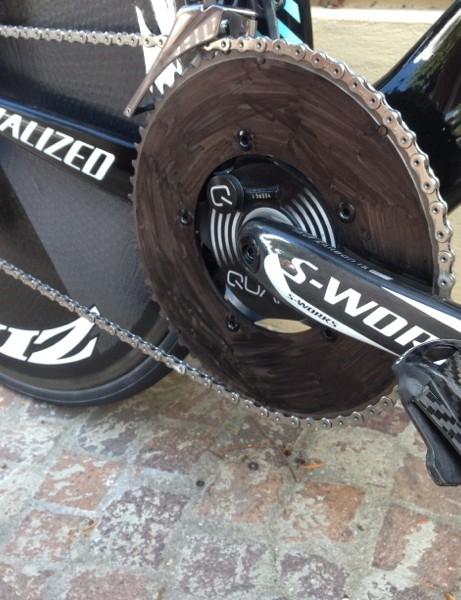 Tony Martin's Specialized S-Works Shiv TT at the 2013 World Championships. Mechanics often cover up non-sponsor-correct components. Here, the 58-tooth aero ring gets the Sharpie treatment