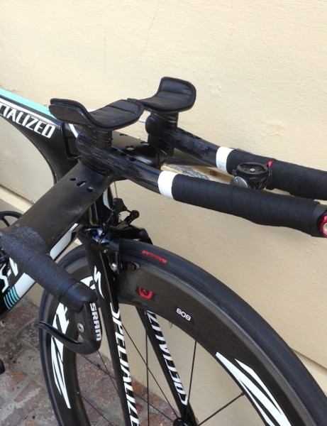Tony Martin's Specialized S-Works Shiv TT at the 2013 World Championships: Shimano's Missile EVO bars are blacked out