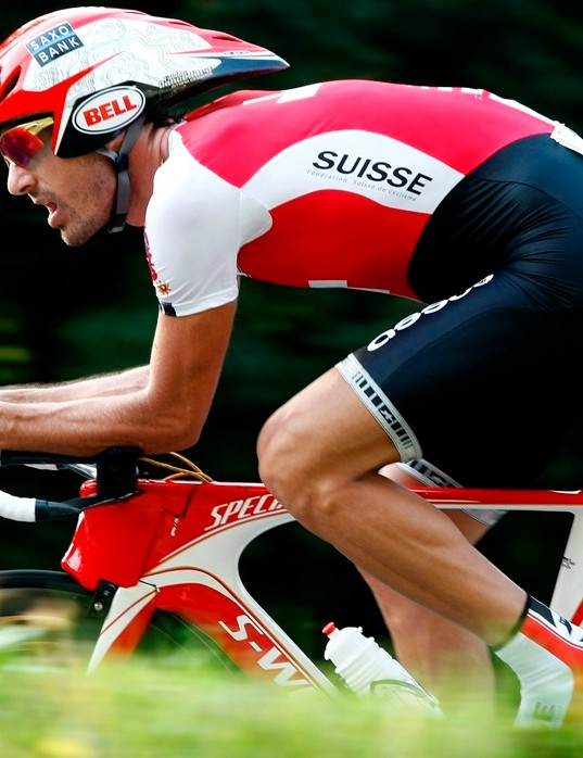 Fabian Cancellara (Switzerland) riding the Specialized Shiv to the world title in 2009