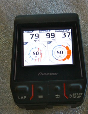 The Pioneer Pedaling Monitor: The head unit displays where power is produced on each crank