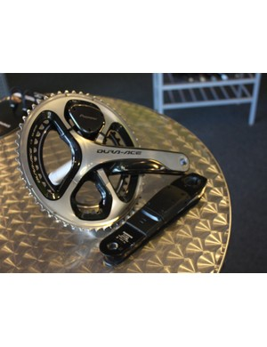 The Pioneer Pedaling Monitor does not include the crankset, and, for now, only works on Dura-Ace 7900 and 9000 cranks