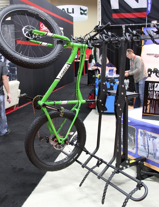 Softride has two new vertical bike racks called the Hang 5 and Hang 2. The Hang 5 retails for US$650 while the two bike version retails for US$329 (UK pricing TBD)