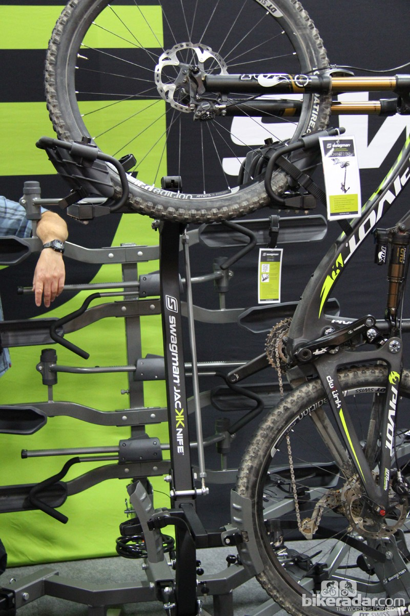 Swagman has a different take on the vertical hitch rack. The new Jackknife comes in two and four bikes versions; it cradles the front wheel and positions the bikes opposite each other