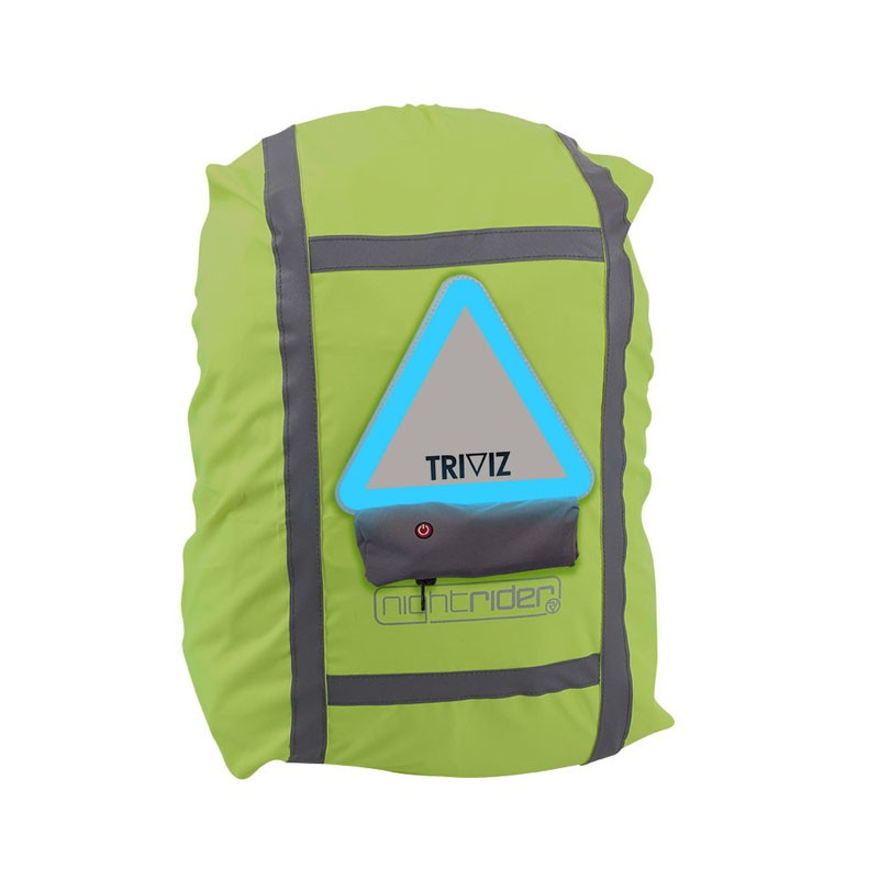 A Proviz rucksack cover with Triviz light pack