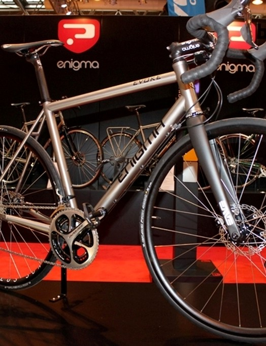 The Shimano Dura-Ace Di2 equipped Enigma Evoke titanium bike, fitted with disc brakes