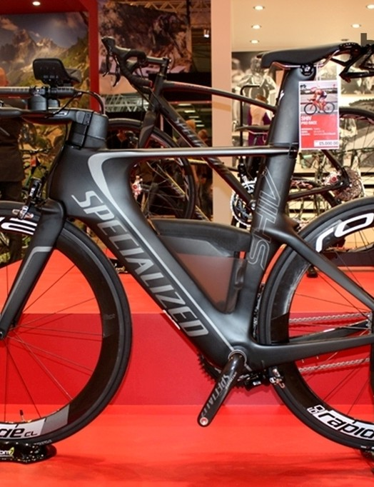 A busy-looking Specialized Shiv. Looks like you could make two road bikes with all that carbon