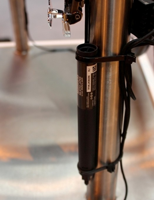 Shimano's newish pen-shaped Di2 battery – rarely seen because it's usually housed inside the seat tube