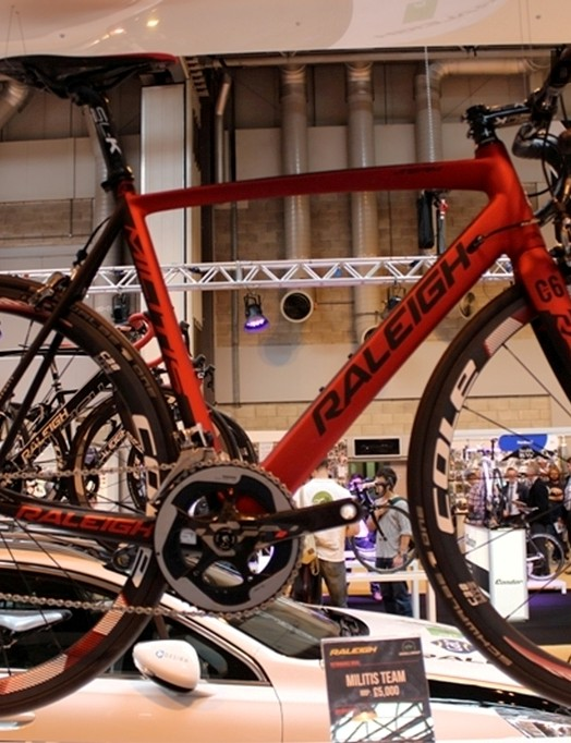 The Raleigh Militis proudly on display at the brand's expansive stand