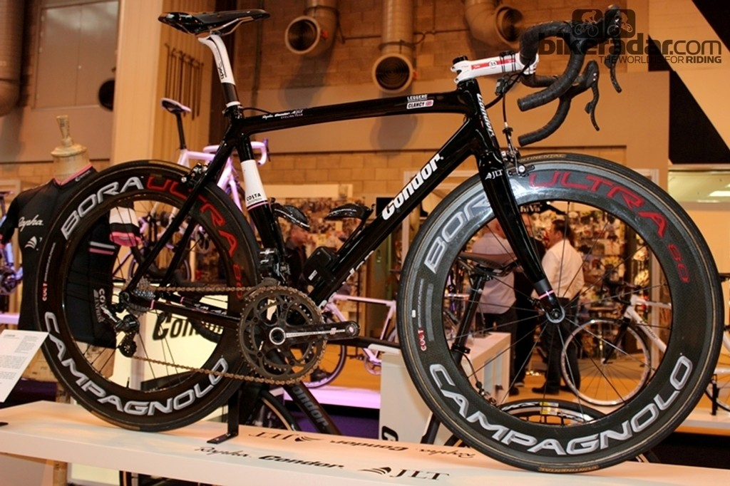 What's a bike show without a pro bike on display? Ed Clancy's carbon Condor Leggero took pride of place on the London brand's stand