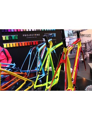 Trek's Project One frames were a striking centrepiece at the American brand's stand