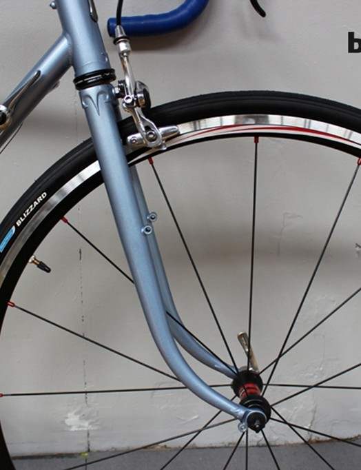 Ignore the naff wheel and look at the fork – its design and extraordinary rake is borrowed from vintage French frames