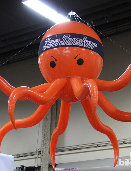 This creature hung ominously over rack maker Sea Sucker's booth like some sort of inflatable orange Cthulhu