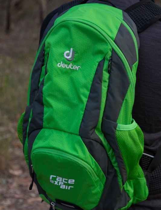 The Deuter Race EXP Air, pictured here in the colourful spring-anthracite