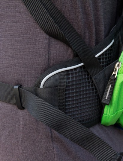 The waist strap on the Deuter Race EXP Air starts very wide for stability at the hips