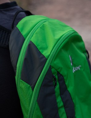 The Deuter Race EXP Air features an expandable main section - here the zipper closest the rider is used to expand the pack for a further 3L of storage