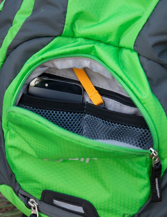 The Deuter Race EXP Air's front pocket offers internal organisation including a zippered pocket