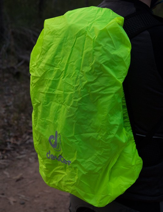 The Race EXP Air, like many Deuter packs, includes an elasticated rain cover for wet rides