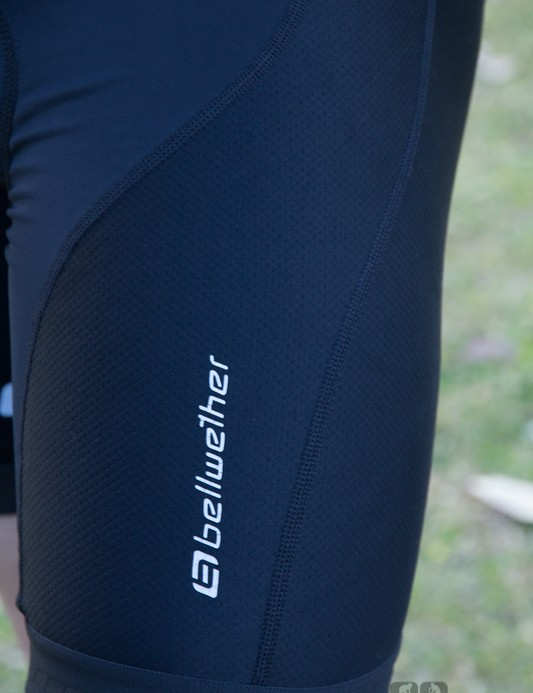 The Bellwether Axiom Bib shorts use a dual-material construction