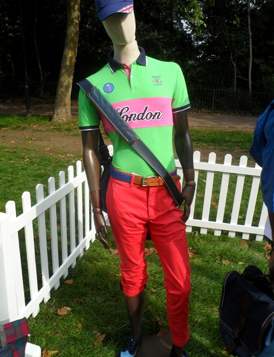 The London rider's polo shirt and rider's trousers