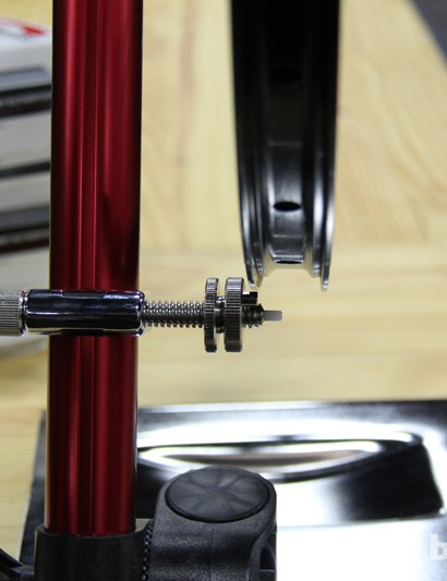 The Pro Truing Stand can check lateral and radial trueness