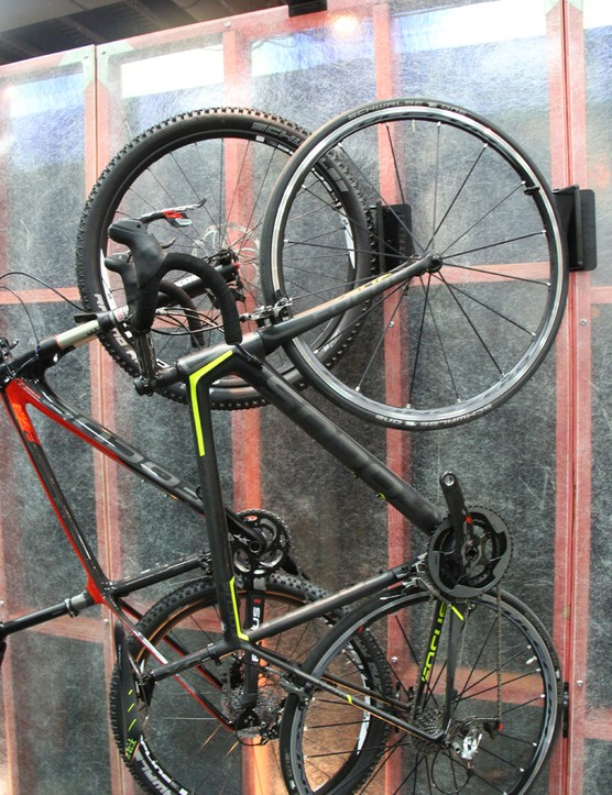 The Velo Hinge stores bikes vertically and swings to the side to save space. Feedback Sports states the Velo Hinge has a 50lb (22.7kg) weight limit