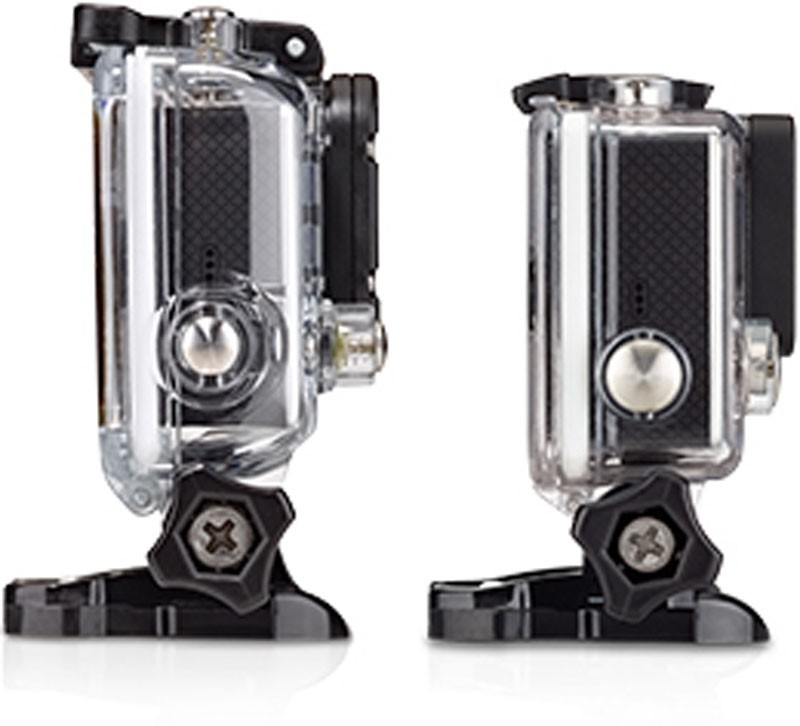 The HERO3+ (R) has a smaller housing than the HERO3, although the cameras are of similar size