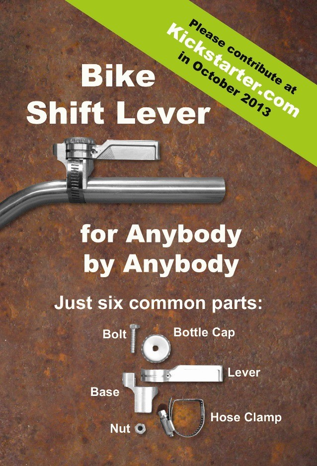 One Street Components' Bike Shift Lever uses just six components - four of which you are likely to find in your own garage