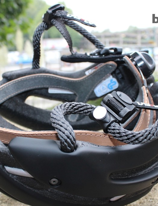 The chin straps on the Casco Attack can be adjusted fore and aft slightly thanks to those little metal screw clamps