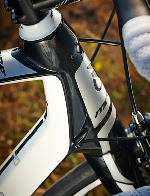 The Merida's tall, sportive-friendly  head-tube