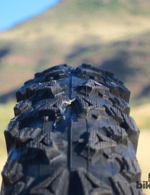 The new Tioga Venture tires have a very squared-off profile. Given the right conditions, you can really lean hard on the firm and stable shelf it provides when cornering