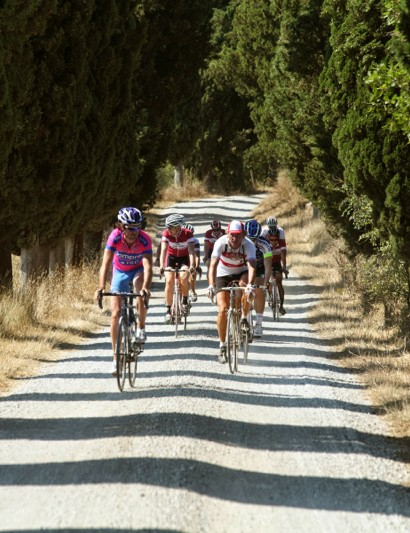 L'Eroica Pro bike: Franco Rossi and friends tackle the white gravel roads of L'Eroica, which are permanently marked and protected by the local government