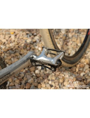 Dombroski said these old Suntour Cyclone pedals were a bonus find inside a metal cabinet she found somewhere