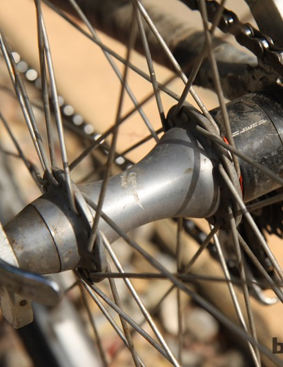 The DT Swiss star ratchet internals on this Specialized-branded rear hub have not seen lube in ages. Dombroski liked it that way, though, as it made for a sort of early warning system on Boulder's often crowded network of bike paths