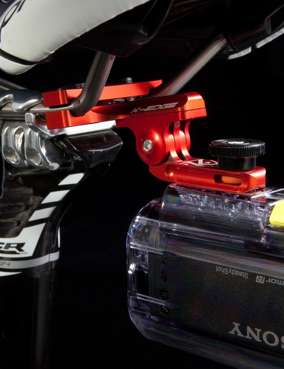Rear-facing K-Edge Go Big camera mounts clamp to conventional saddle rails
