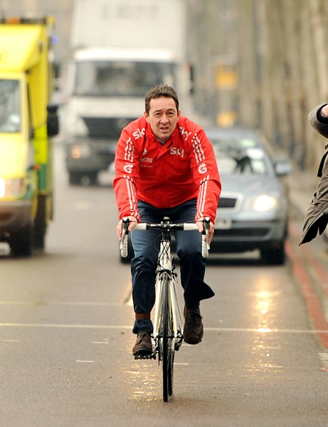 Chris Boardman, left, accompanied  Boris Johnson when the London mayor outlined his vision for cycling in the capital