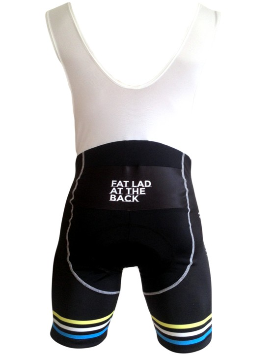 A backside look at Fat Lad at the Back's Ey Up bib shorts