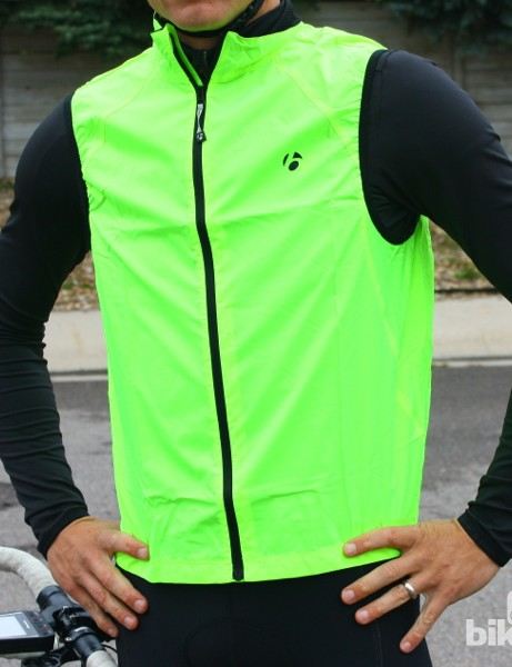 Bontrager fall wear: HiVis is well represented in the line, from vests to gloves to booties to jackets