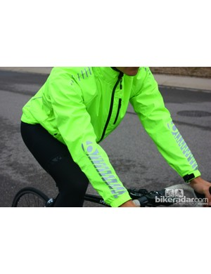 Bontrager autumn wear: The Commuter Stormshell has huge reflective patches in addition to the loud color itself