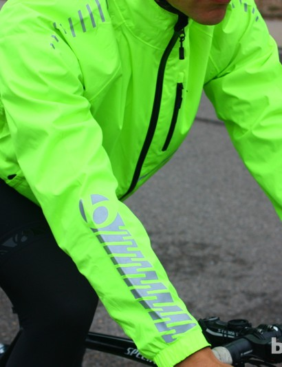 Bontrager fall wear: The Commuter Stormshell has huge reflective patches in addition to the loud color itself