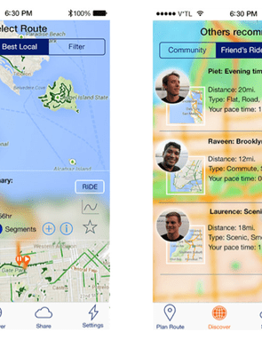 The app allows riders to swap information on routes as well as to meet up with fellow Hammerhead users already on a ride