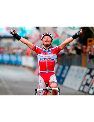 Joaqium Rodriguez (Katusha) celebrates is second win in the Tour of Lombardy