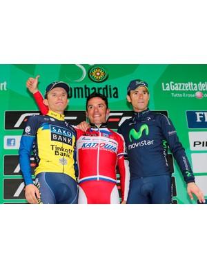 Joaquim Rodriguez (Katusha) with second-placed Alejandro Valverde (Movistar) and third-placed Rafal Majka (Saxo-Tinkoff Bank)