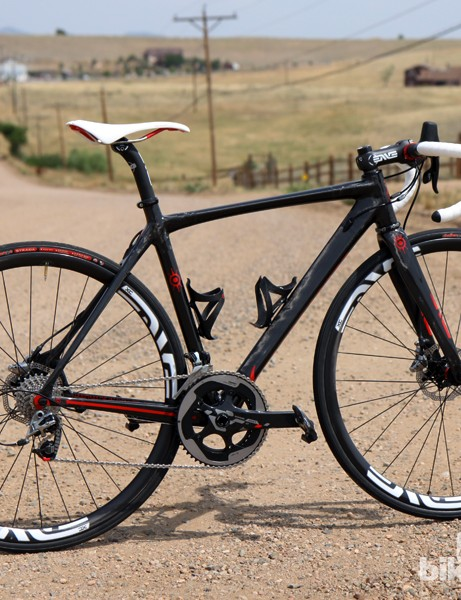 Alchemy Bicycle Company built us this gorgeous Helios test chassis, complete with just a bit more clearance for 27mm tires, disc brakes tabs, and quick geometry that's more akin to a full-blown race bike than a lazy 'endurance' machine