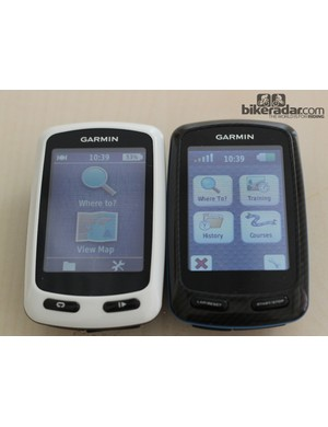 The Garmin Edge Touring Plus (L) uses the same casing as the sportier 810 (R)
