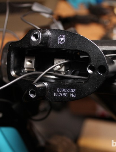 Trek Speed Concept 9 Series: Raising the bars 1cm means undoing the entire front end - shifters included - as the whole system is stacked together like a necklace with the wires running through the center of it all