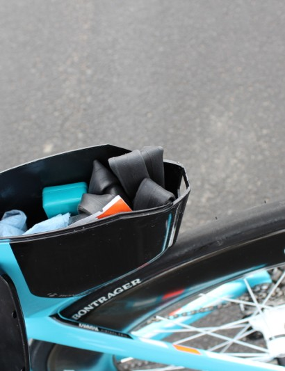 Trek Speed Concept 9 Series: We were able to easily fit in a spare tube, two CO2 cartridges, a breaker, a patch kit, a towel and a little wipe. If you race tubulars, you can fit a spare tire in here, too